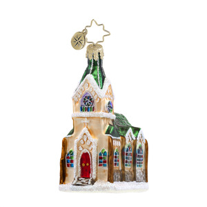 RADKO 1017605 SUNDAY BLESSING GEM - CHURCH WITH GREEN ROOF ORNAMENT - NEW 2014 (22-1)