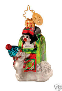 RADKO 1014218 NORTH POLE POSTER GEM - MAILBOX - PENGUIN - RETIRED ORNAMENT (16)
