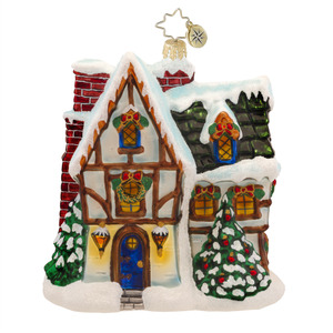 RADKO 1017596 TOASTY TUDOR - SNOW COVERED HOUSE ORNAMENT - NEW 2015 (15-4)