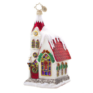 RADKO 1017580 RUBY CHAPEL - SNOW COVERED CHURCH WITH RED ROOF ORNAMENT - NEW 2015 (15-3)