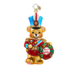 RADKO 1017592 MARCHING BABY BEAR - NOT DATED - BABY'S FIRST CHRISTMAS ORNAMENT - NEW 2015 (15-4)