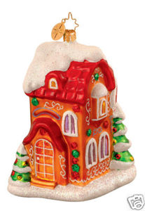 RADKO 1013129 GINGERVILLE LANE- HOUSE - RED ROOF - RETIRED ORNAMENT (WW)