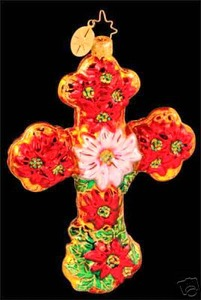 RADKO 1012996 SEASONAL BLESSINGS - FLOWER CROSS - RETIRED ORNAMENT (R)