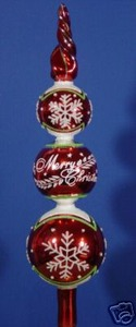 RADKO 4013560 SHINY BRITE - MERRY CHRISTMAS SNOWFLAKE FINIAL - RETIRED