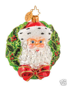 RADKO 1014384 HOLLY CURL NICK - SANTA & WREATH - RETIRED ORNAMENT (G4)