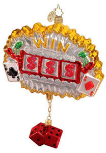 RADKO 1012313 JUST MY LUCK - LAS VEGAS - SLOTS - DICE - RETIRED ORNAMENT (A1)