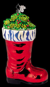 RADKO 1011790 HOLLY BERRY BOOT - ZEBRA - RETIRED ORNAMENT (HH)