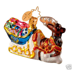 RADKO 1013481 LEADING THE WAY GEM - SLED - REINDEER - RETIRED ORNAMENT (14)