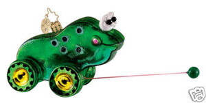 RADKO 1012010 FROGGY GOOGLE- CHILDREN PULL TOY - RETIRED ORNAMENT (K1)