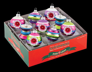 RADKO 4024475 SHINY BRITE - SMALL COOL YULE SPACE BALLS, BOWS & REFLECTORS - ASST 9 - NEW FOR 2010