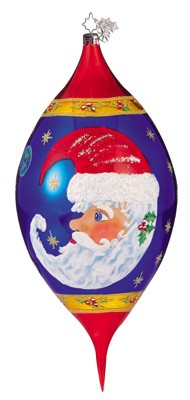 RADKO 1011496 MOON DREAM SANTA - CHRISTOPHER'S FAVORITE - LARGE DROP WITH PAINTED SANTA ORNAMENT - STRAIGHT (CF3)