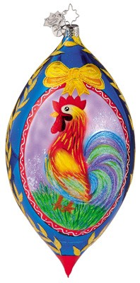 RADKO 1011659 ROOSTER ROYAL - DROP ORNAMENT - CHRISTOPHER'S FAVORITE (CF)