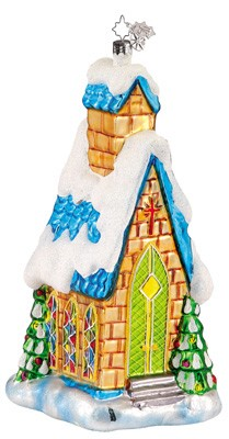 RADKO 1011757 MIDNIGHT MASS - CHRISTOPHER'S FAVORITE - SNOW COVERED CHURCH - RETIRED ORNAMENT (CF2)