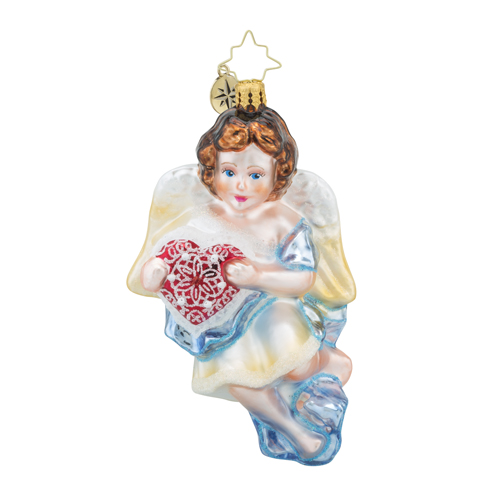 RADKO 1018173 YOU GOTTA HAVE HEART - YOUNG ANGEL HOLDING A HEART ORNAMENT - NEW 2016 (16 - 4)