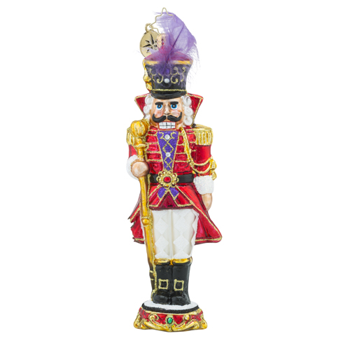 RADKO 1018175 BARON VON PLUME - NUTCRACKER WITH STAFF AND FEATHER IN HAT ORNAMENT - NEW 2016 (16 - 4)