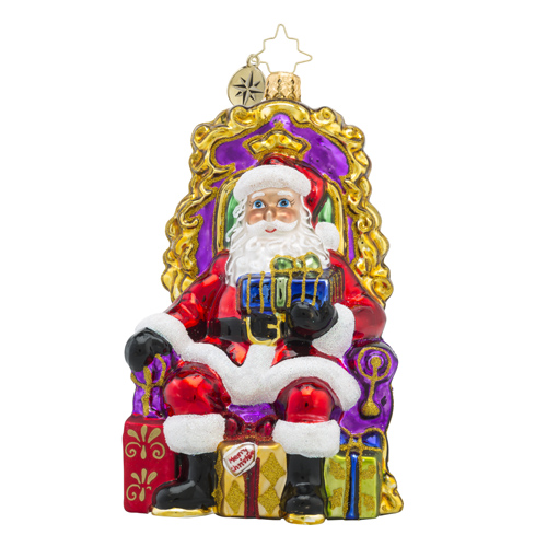 RADKO 1018180 READY & WAITING - SANTA SITTING IN CHAIR WITH GIFTS - NEW 2016 (16 - 5)