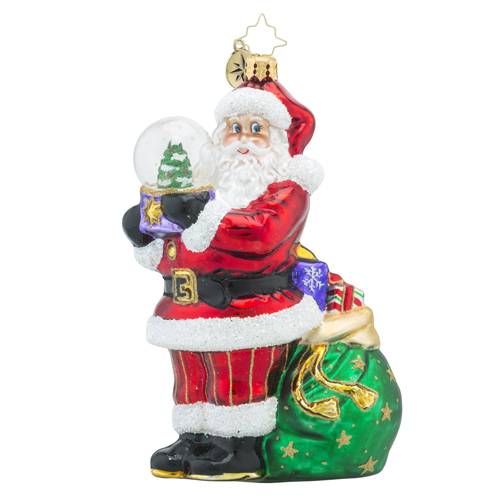 RADKO 1018181 WINTER LAND TREASURE - SANTA HOLDING A SNOW GLOBE ORNAMENT - NEW 2016 (16 - 5)