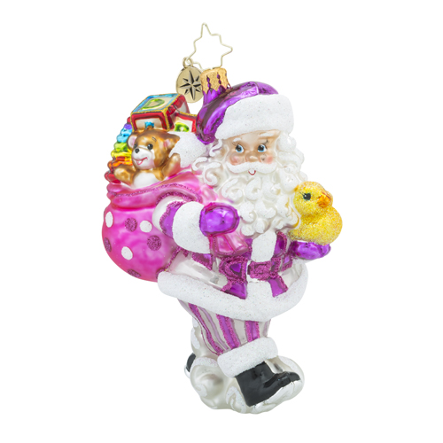 RADKO 1018185 TOYLAND DELIVERIES GIRL - SANTA IN PINK WITH RUBBER DUCKIE AND BAG OF TOYS ORNAMENT - NEW 2016 (16 - 5)