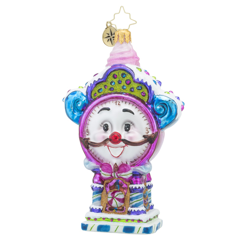 RADKO 1018200 TIME FOR SWEETS - CANDY CLOCK WITH FACE ORNAMENT - NEW 2016 (16 - 5)