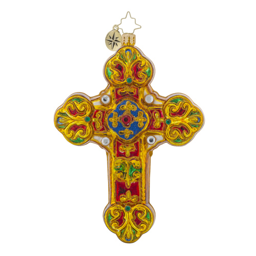RADKO 1018204 BAROQUE BLESSINGS - JEWELED CROSS ORNAMENT - RELIGIOUS ORNAMENT - NEW 2016 (16 - 5)