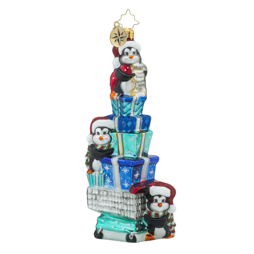 RADKO 1018228 CARTIN' CAPERS - THREE PENGUINS WITH GIFTS IN SHOPPING CART ORNAMENT - NEW 2016 (16 - 6)