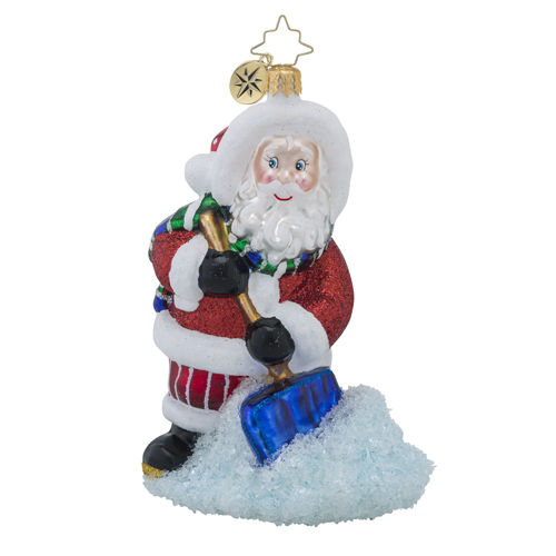 RADKO 1018230 SNOW AWAY DAY - SANTA SHOVELING SNOW ORNAMENT - NEW 2016 (16 - 6)