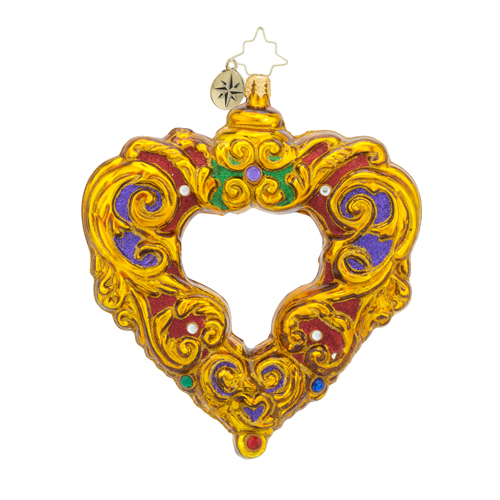 RADKO 1018238 BAROQUE CORAZON - JEWELED HEART - RELIGIOUS ORNAMENT - NEW 2016 (16 - 6)
