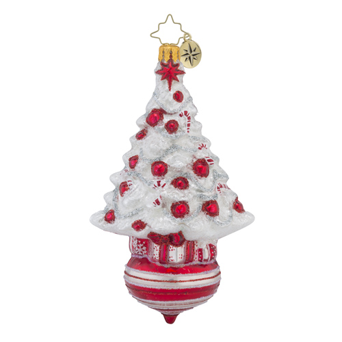 RADKO 1018245 PEPPERMINT DAZZLER - WHITE TREE WITH RED BALLS ORNAMENT - NEW 2016 (16 - 7)