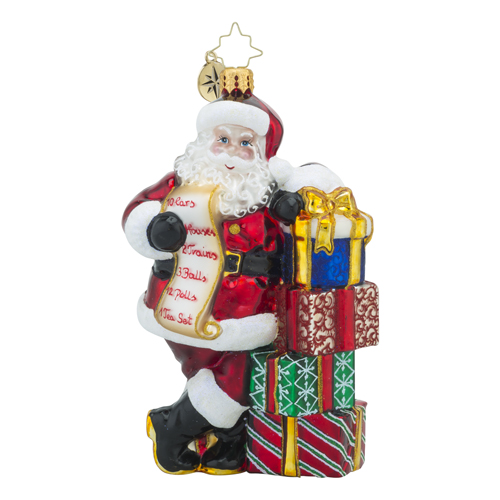 RADKO 1018246 IF YOU BELIEVE - SANTA WITH LIST AND GIFTS - NEW 2016 (16 - 7)