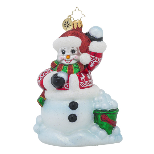 RADKO 1018267 SOUTHPAW - LEFT HANDED SNOWMAN ORNAMENT - NEW 2016 (16 - 7)