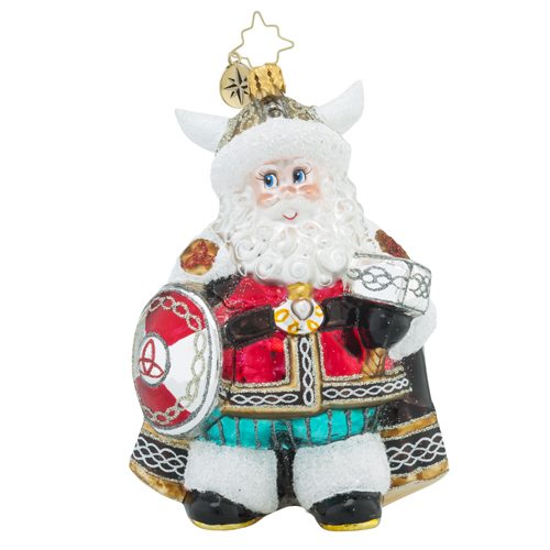 RADKO 1018270 VICTORIOUS VIKING - SANTA WITH HORNED HAT AND SHIELD ORNAMENT - NEW 2016 (16 - 7)
