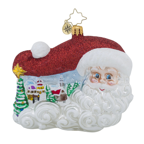 RADKO 1018277 SANTA TRACKER - SANTA WITH FLOWING BEARD AND PAINTED SCENE ORNAMENT - NEW 2016 (16 - 8)