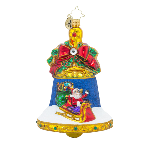 RADKO 1018290 HOLIDAY RINGTONES - JEWELED BELL WITH PAINTED SCENE ORNAMENT - NEW 2016 (16 - 8)