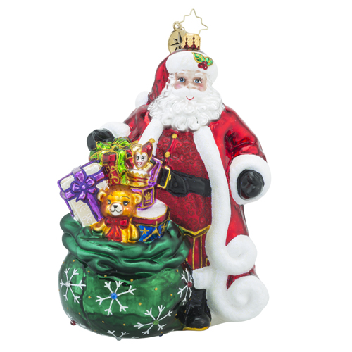 RADKO 1018294 PROMISE TO PLEASE - DESIGNER'S CHOICE - JEWELED SANTA WITH BAG OF TOYS ORNAMENT - NEW 2016 (16-1)