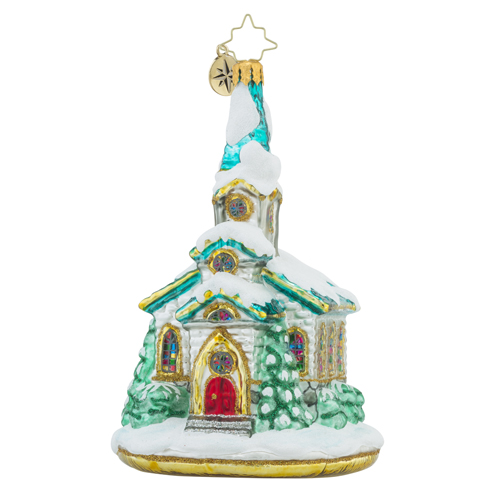 RADKO 1018295 PAUSE FOR PRAYER - SNOW COVERED CHURCH ORNAMENT - NEW 2016 (16 - 8)