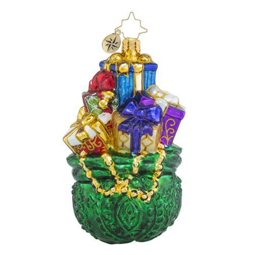 RADKO 1018298 EMERALD TREASURES - GREEN BAG OF GIFTS ORNAMENT - NEW 2016 (16 - 8)