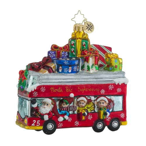 RADKO 1018299 SANTA LINE TOURS - SANTA AND ELVES ON BUS WITH GIFTS - NEW 2016 (16 - 8)