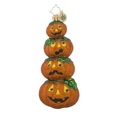 RADKO 1018301 MASHING PUMPKINS - STACK OF 4 PUMPKIN ORNAMENT - NEW 2016 (H7)