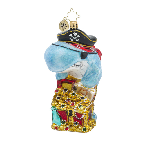 RADKO 1018302 CATCH OF THE DAY - PIRATE WHALE WITH TREASURE CHEST ORNAMENT - SUMMER - NEW 2016 (16 - 8)