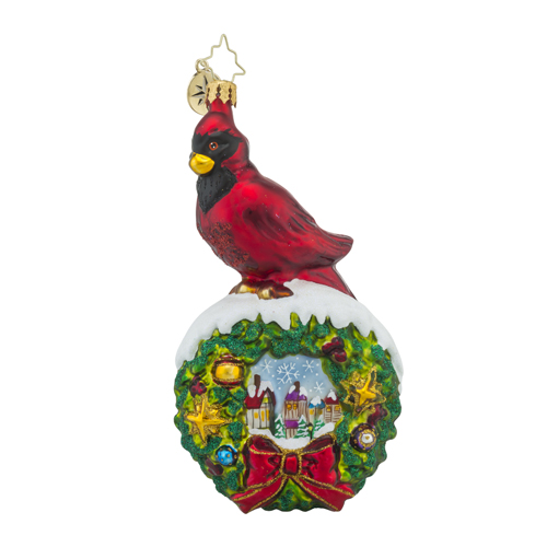 RADKO 1018306 RED VELVET - CARDINAL ON WREATH WITH PAINTED SCENE ORNAMENT - NEW 2016 (16 - 9)