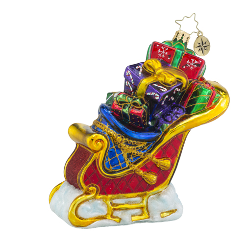 RADKO 1018307 SEASONAL SLEIGH - SLEIGH FULL OF GIFTS ORNAMENT - NEW 2016 (16 - 9)