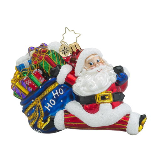 RADKO 1018309 NICKETY SPLIT - SANTA WITH BAG OF GIFTS DOING SPLIT ORNAMENT - NEW 2016 (16 - 9)
