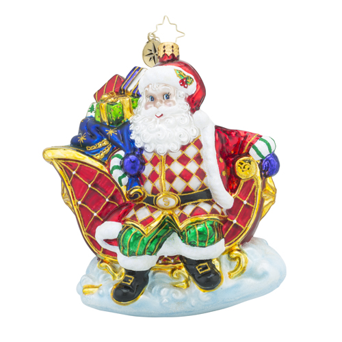 RADKO 1018312 SLEIGH VALET - SANTA IN SLEIGH WITH GIFTS ORNAMENT - NEW 2016 (16 - 9)