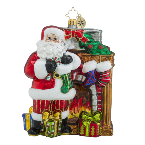 RADKO 1018319 TOASTY TRADITIONS - SANTA IN FRONT OF FIREPLACE ORNAMENT - NEW 2016 (16 - 9)