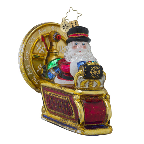 RADKO 1018320 TO THE FUTURE NICK!! - SANTA DRIVING A TIME MACHINE ORNAMENT - NEW 2016 (16 - 9)