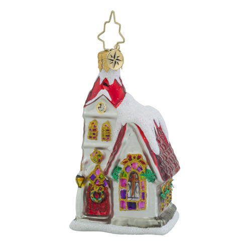 RADKO 1018346 RUBY CHAPEL GEM - SNOW COVERED CHURCH ORNAMENT - NEW 2016 (24)