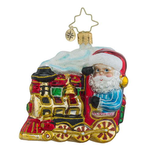 RADKO 1018348 NORTH POLE EXPRESS GEM - SANTA IN LOCOMOTIVE ORNAMENT - TRAIN - NEW 2016 (24)