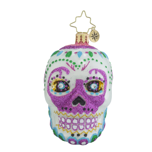 RADKO 1018353 LA CALAVERA WHITE GEM - SUGAR SKULL ORNAMENT - HALLOWEEN - NEW 2016 (24)