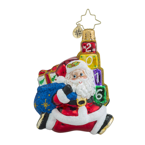 RADKO 1018355 JOLLY LEAPING LITTLE GEM - DATED 2016 - JUMPING SANTA ORNAMENT - NEW 2016 (24)