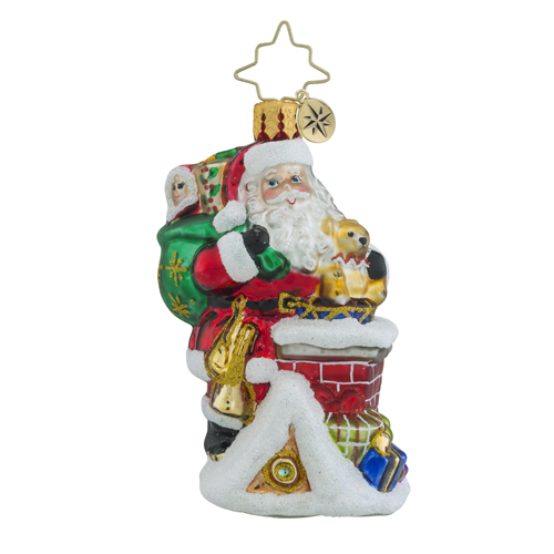 RADKO 1018370 A SPECTACULAR ENTRANCE LITTLE GEM - SANTA ON ROOF IN CHIMNEY ORNAMENT - NEW 2016 (24-1)